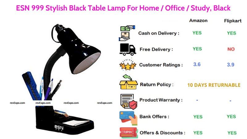 ESN 999 Table Lamp with Stylish Black Color For Home or Office
