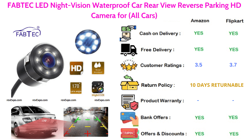FABTEC Car Reverse Waterproof HD Camera with LED Night-Vision, Rear View for Reverse Parking