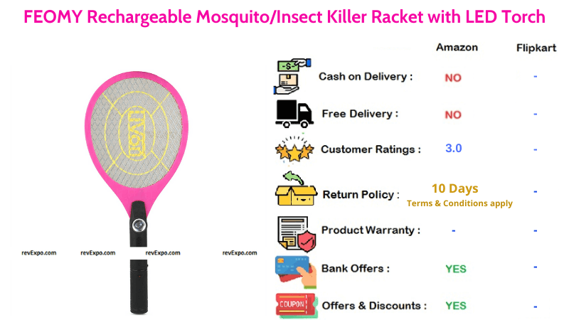FEOMY Rechargeable Mosquito Racket with LED Torch