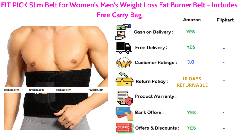 FIT PICK Sweat Slim Belt for Women's, Men's Weight Loss & Burning Fat with Free Carry Bag
