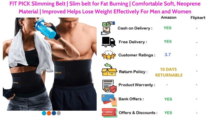 FIT PICK Sweat Slim Belt with Comfortable & Soft Neoprene Material for Fat Burning and Lose Weight Helps Effectively For Men and Women