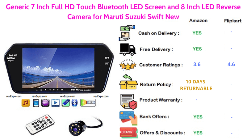 Generic 8 LED Car Reverse Camera with 7 Inch Full HD LED Touch Screen, Bluetooth for Maruti Suzuki Swift New