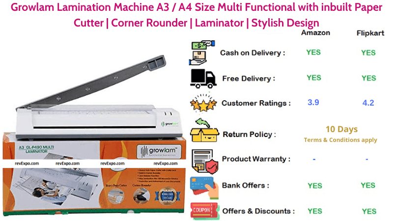 Growlam A3 or A4 Size Stylish Design Lamination Machine with inbuilt Paper Cutter & Corner Rounder