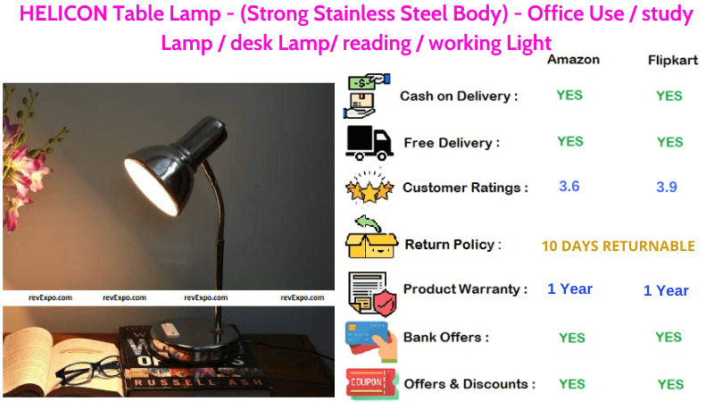 HELICON Table Lamp with Strong & Stainless Steel Body for Home or Office Use