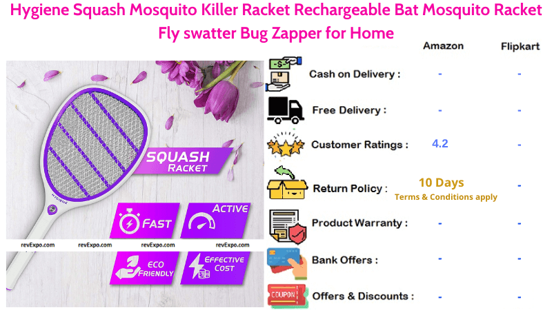 Hygiene Squash Rechargeable Mosquito Racket with Gift