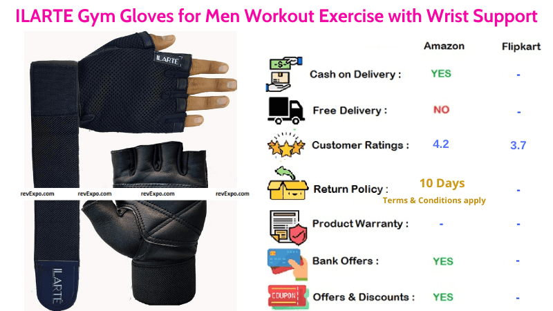 ILARTE Men Gym Gloves for Exercises with Wrist Support