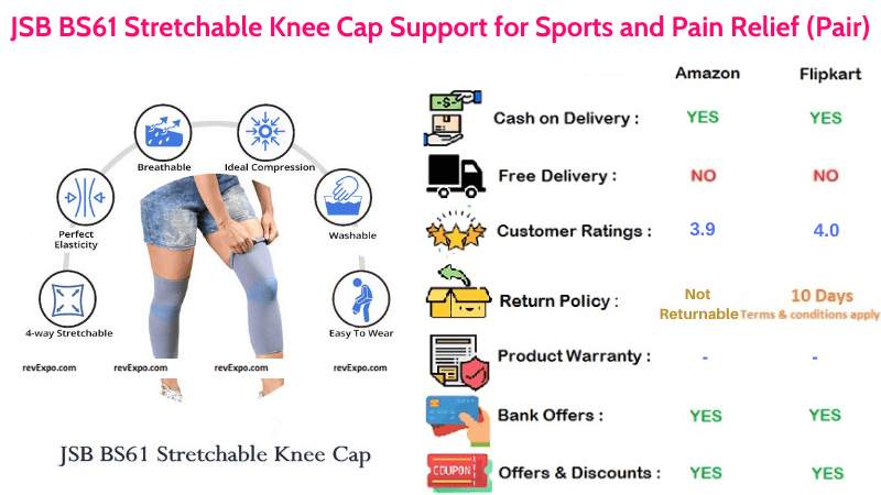JSB Stretchable Knee Cap Support Pair for Pain Relief