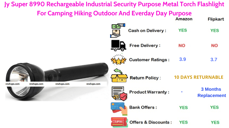 Jy Super Torch Light Rechargeable with Industrial Security Purpose Metal For Everday Day Purpose