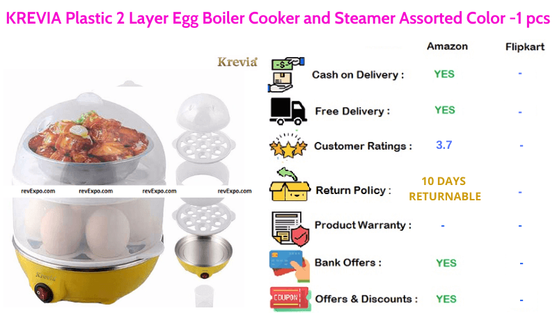 KREVIA 2 Layer Egg Boiler, Cooker and Steamer with Assorted Colors