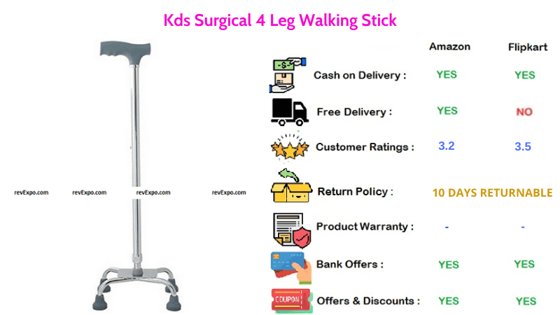 Kds Surgical Walking Stick with 4 Legs