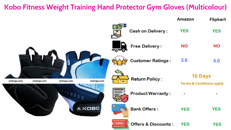 Kobo Gym Gloves for Hand Protection & Fitness Weight Training