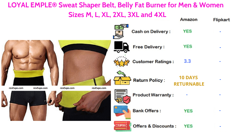 Loyal Emple Sweat Slim Belt Belly Fat Burner for Women & Men with Sizes M to 4XL