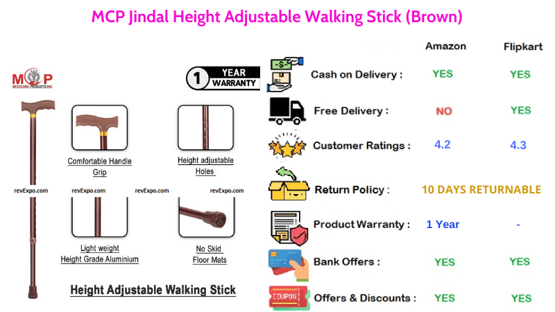 MCP Jindal Walking Stick Brown with 10 Adjustable Height Levels