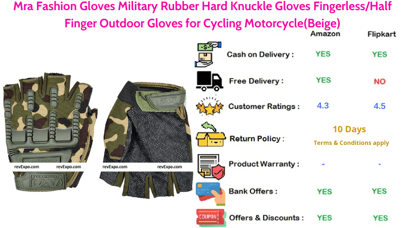 Mra Fashion Bike Gloves with Military Rubber Hard Knuckle for Cycling & Motorcycle