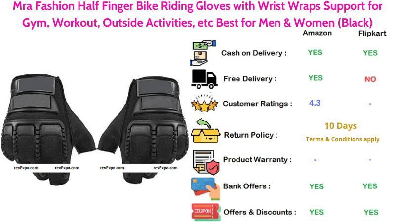 Mra Fashion Half Finger Bike Riding Gloves with Wrist Wraps Support for Workout & Outside Activities