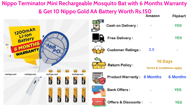 Nippo Terminator Rechargeable Mini Mosquito Racket with 10 Nippo Gold AA Batteries