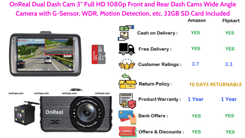 OnReal Car Dual Dash Camera with Full HD 1080p Front and Rear Dash Cams, G-Sensor, 32GB SD Card, etc.