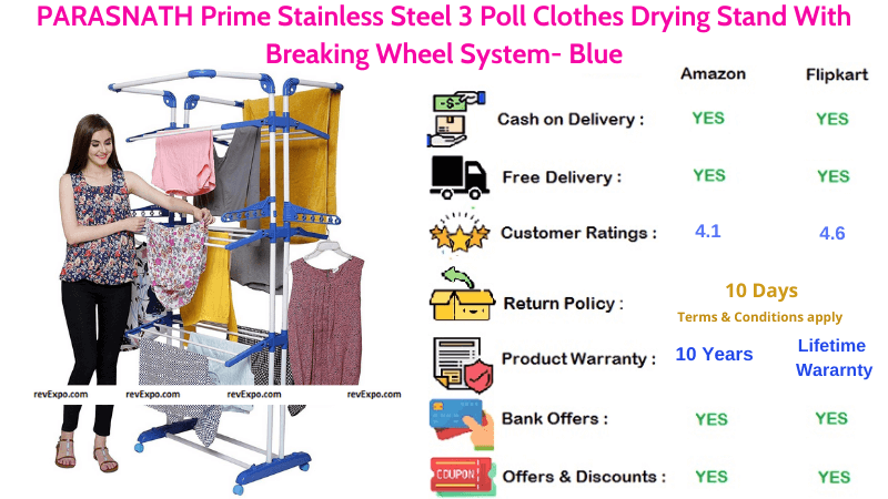 PARASNATH Stainless Steel Blue Clothes Drying Stand With Breaking Wheel System