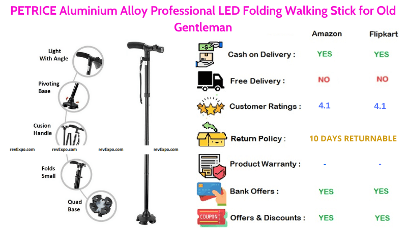 PETRICE Walking Stick Aluminium Alloy & Folding with Professional LED for Old Gentleman