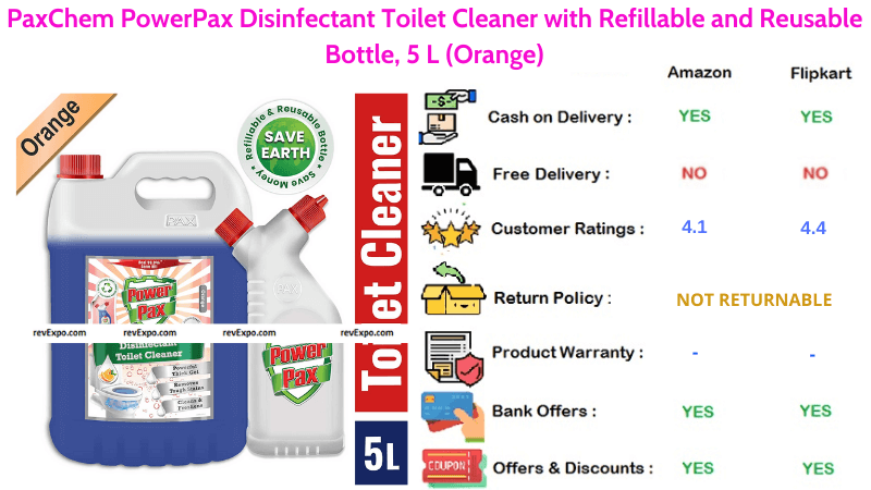 PaxChem PowerPax Orange Toilet Cleaner 5 L Disinfectant with Refillable and Reusable Bottle