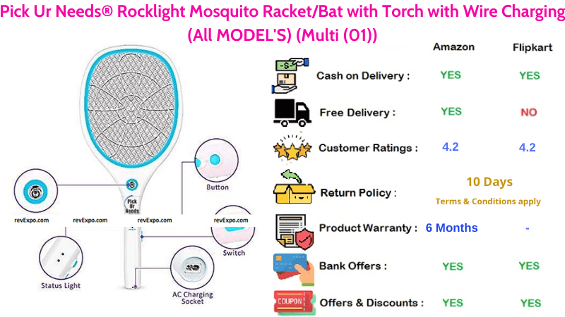 Pick Ur Needs Rocklight Mosquito Racket with Torch & Charging Cable