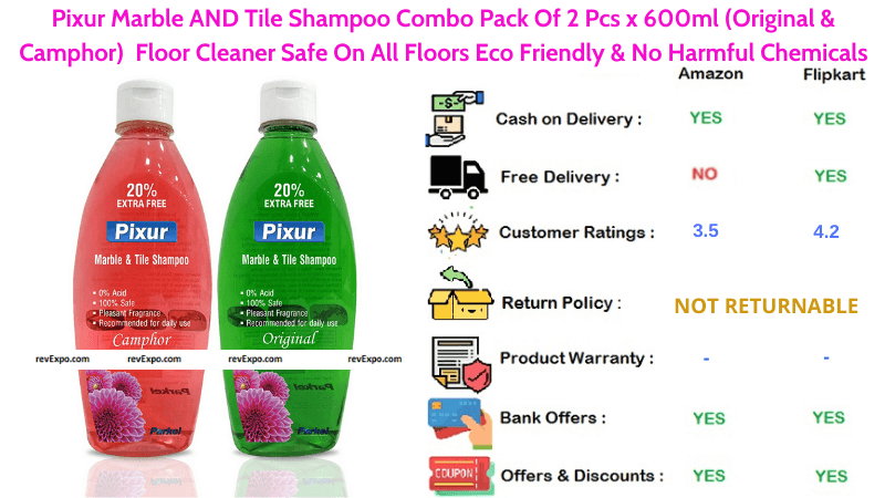 Pixur Marble & Tile Shampoo surface Cleaner Combo Pack Original and Camphor Floor Cleaner