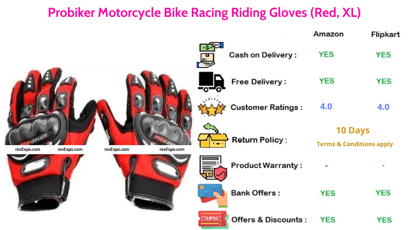 Probiker XL Size Bike Gloves for Motorcycle Riding & Racing