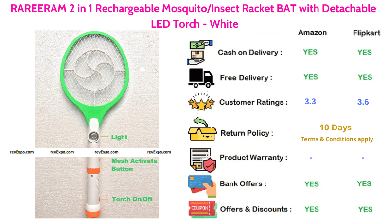Rareeram 2 in 1 Rechargeable Mosquito Racket with detachable LED Torch