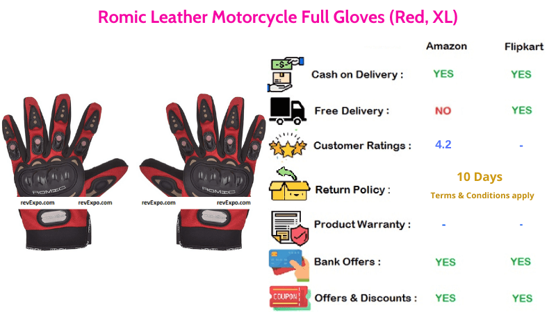 Romic XL Size Leather Bike Gloves for Motorcycle