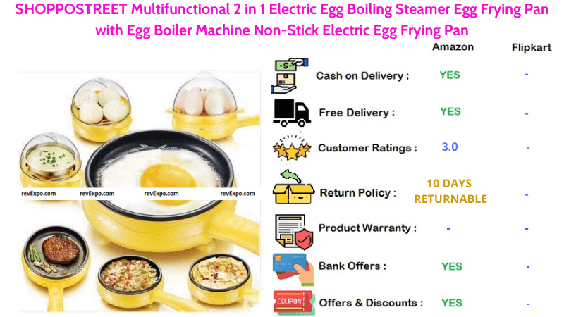 SHOPPOSTREET Egg Boiler and Egg Boiling Steamer Multifunctional 2 in 1 Electric Non-Stick Egg Frying Pan with Machine