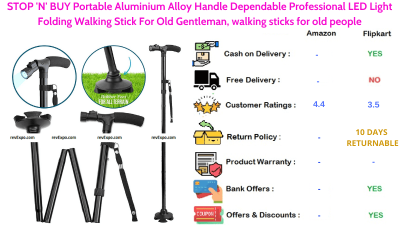 STOP N BUY Portable Walking Stick with Aluminium Alloy Handle & LED Light Folding For Old People