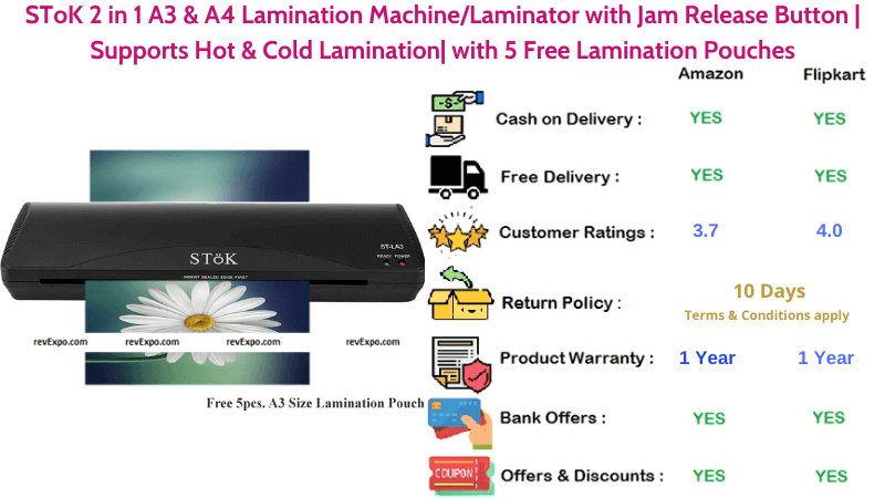 SToK 2 in 1 Hot & Cold A3 & A4 Lamination Machine with Jam Release Button