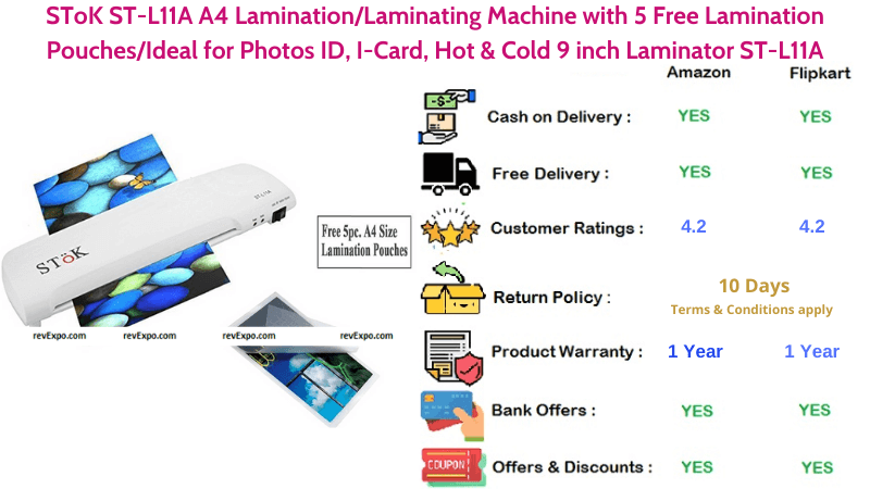 SToK Hot & Cold 9 inch A4 Laminating Machine with 5 Free Lamination Pouches
