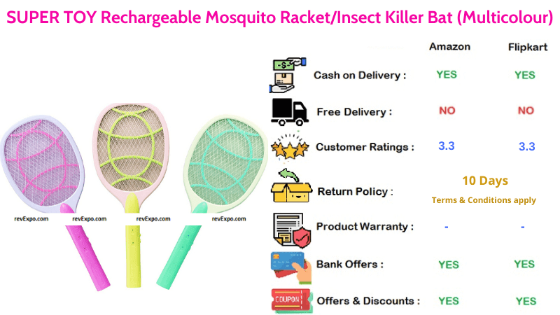 SUPER TOY Multicolour Mosquito Racket Rechargeable