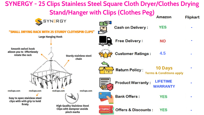 SYNERGY Stainless Steel Clothes Drying Stand with 25 Clips