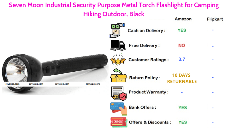Seven Moon Torch Light Industrial Security Purpose Metal flashlight for Camping, Hiking & Outdoor