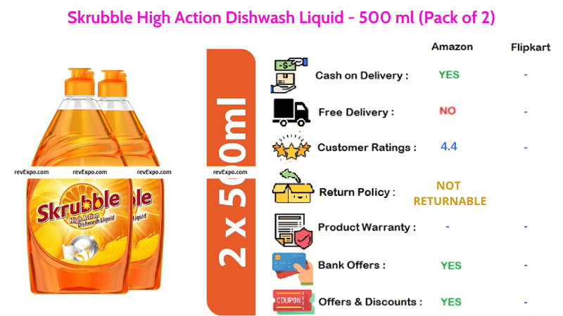 Skrubble Dish Wash Liquid High Action 500 ml Pack of 2