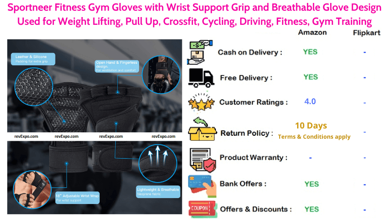 Sportneer Gym Gloves with Wrist Support Grip for Weight Lifting and Gym Training