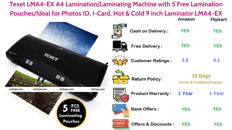 Texet LMA4-EX Hot & Cold 9 inch A4 Laminating Machine with 5 Free Lamination Pouches