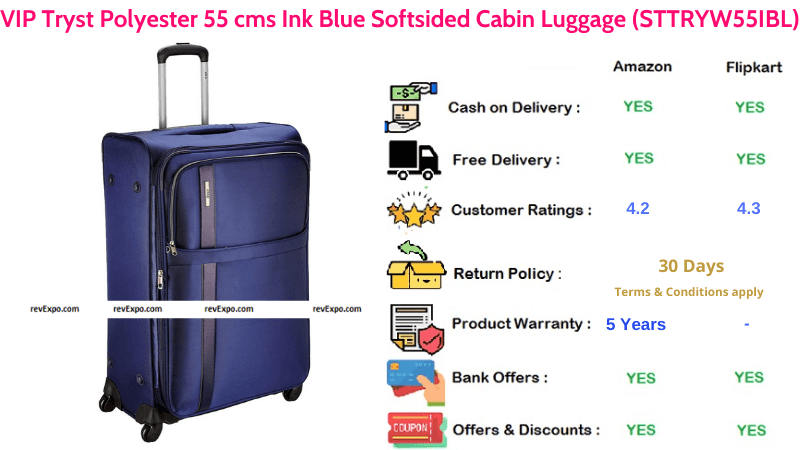 VIP Tryst Polyester Ink Blue 55 cms with Softsided Cabin Luggage