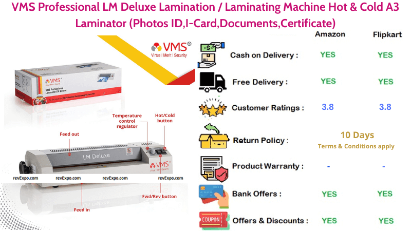 VMS Professional LM Deluxe Hot & Cold A3 Laminating Machine