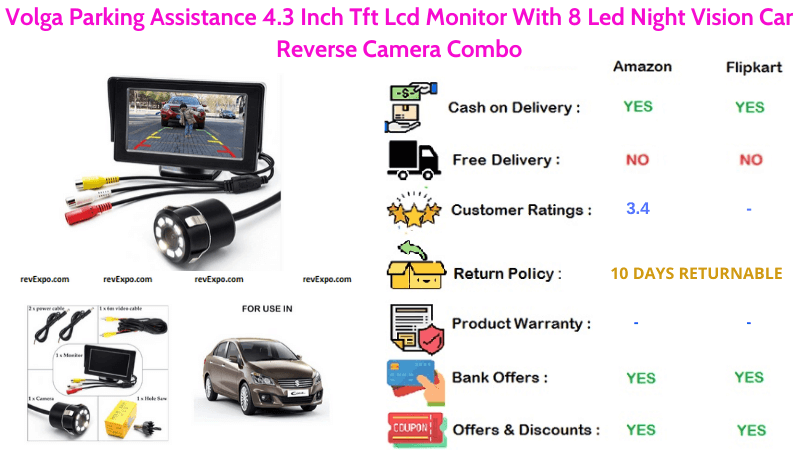 Volga Night Vision Car Reverse 8 led Camera with 4.3 Inch LCD Tft Monitor Combo for Parking Assistance