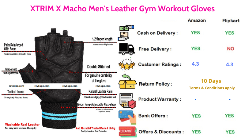 XTRIM X Macho Men's Leather Gym Gloves for workout
