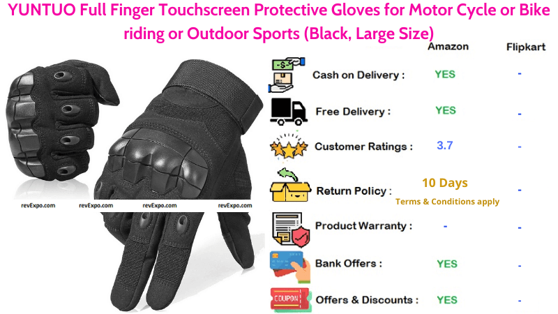 YUNTUO Bike Gloves with Full Finger Touchscreen Protectiion for Motor Cycle or Bike Riding or Outdoor Sports