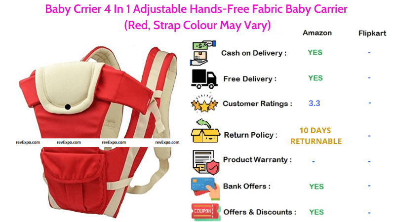 Baby Crrier Baby Cary Bag with Fabric 4 in 1 Adjustable Hands Free Baby Carrier in Red Colour