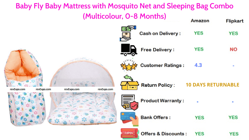 Baby Fly Baby Sleeping Bag, Mattress and Mosquito Net Combo Multicolour