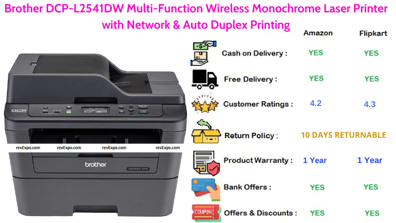 Brother DCP Wireless Printer with Multi-Function Monochrome Laser Printer, Network & Auto Duplex Printing