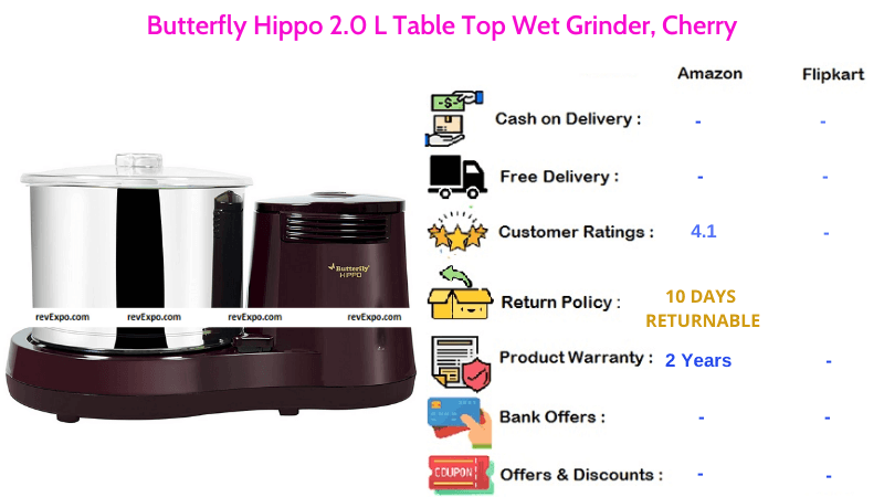 Butterfly Hippo Wet Grinder with 2.0 Liters Table Top
