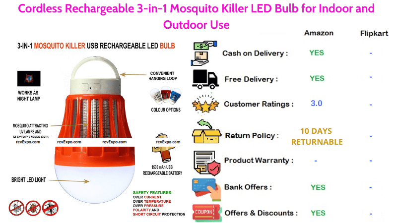 Cordless Mosquito Killer Machine with 3 in 1 Rechargeable LED Bulb for Indoor and Outdoor Use