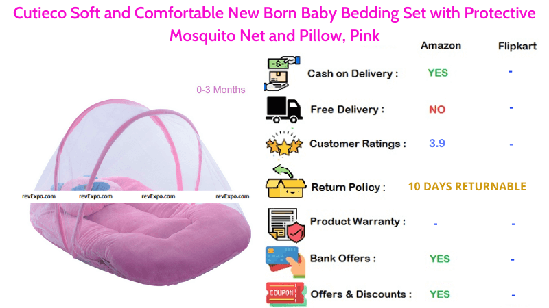 Cutieco Baby Bedding Set Soft & Comfortable for New Born with Pillow and Protective Mosquito Net